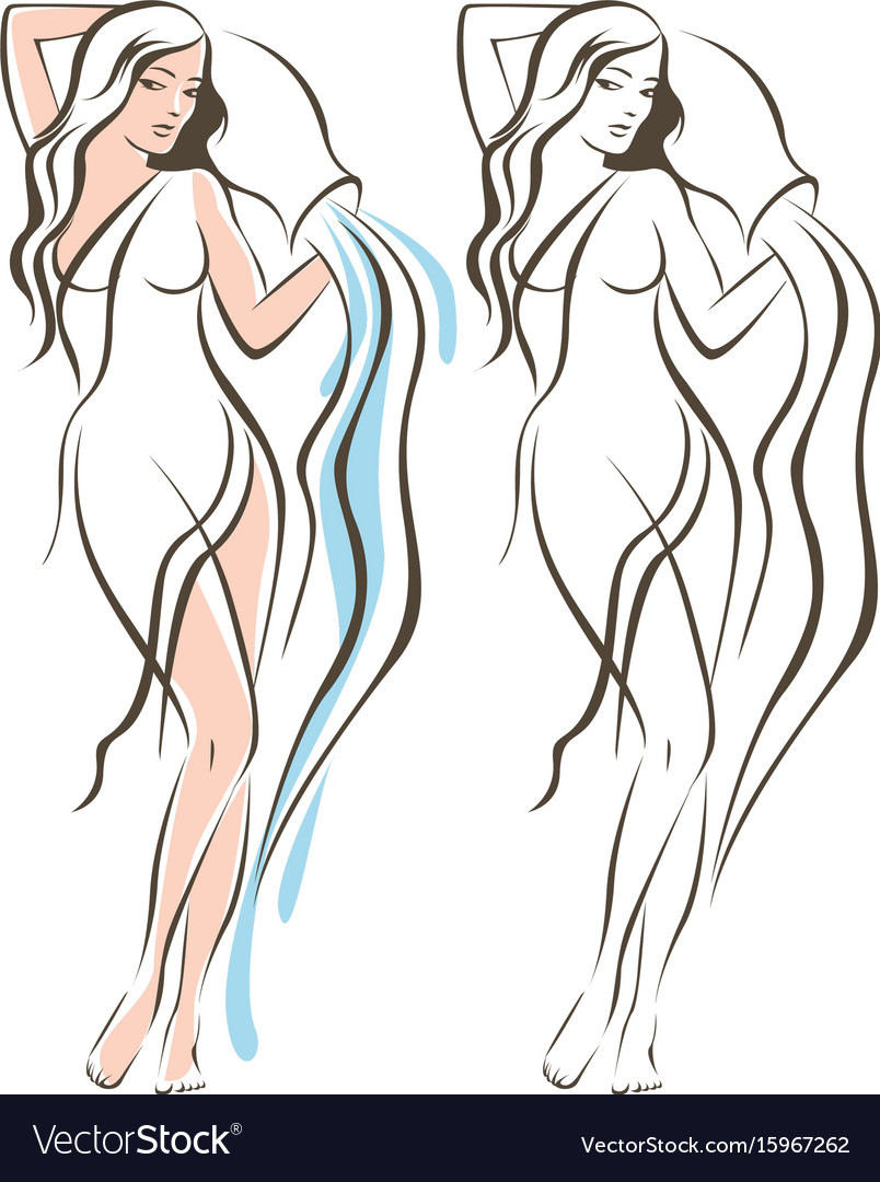 Aquarius woman outline drawing