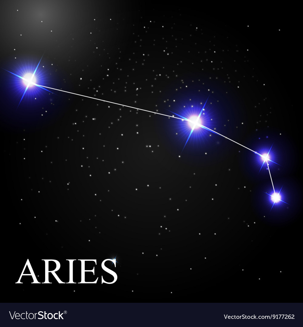 Aries Zodiac Sign with Beautiful Bright Stars on