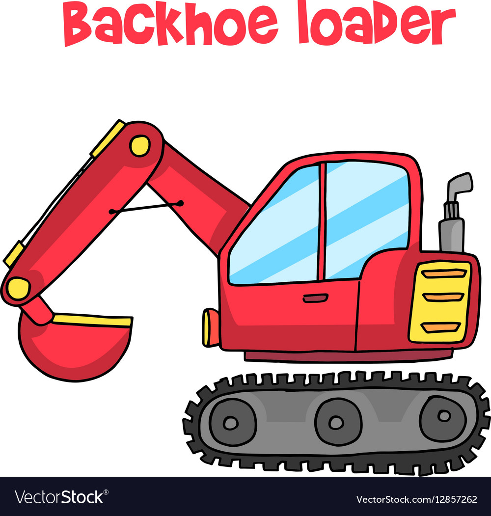 Backhoe loader cartoon art