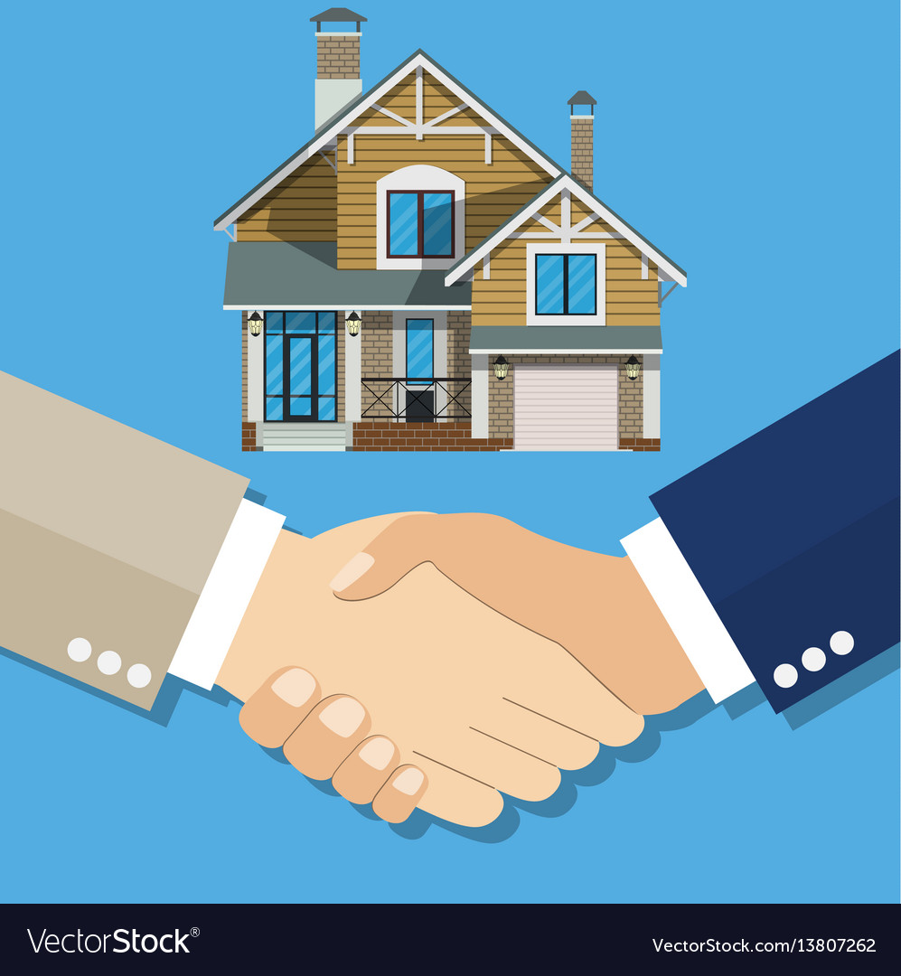 Cartoon businessman handshake deal purchase home
