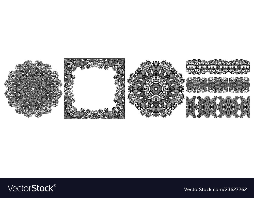 Collection seamless decorative ethnic
