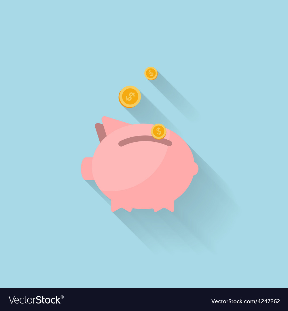 Flat piggy bank icon for web vector image