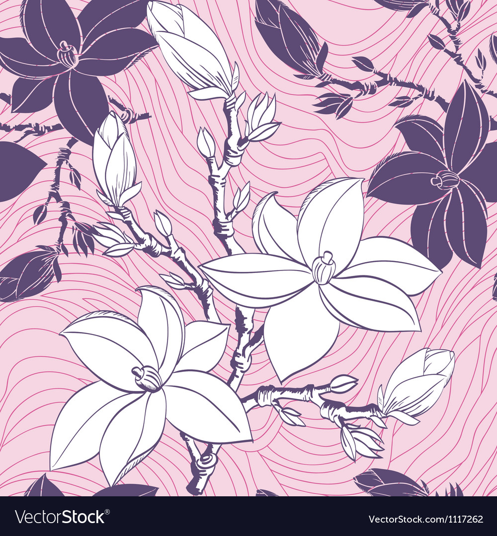 Floral seamless pattern with drawing magnolia