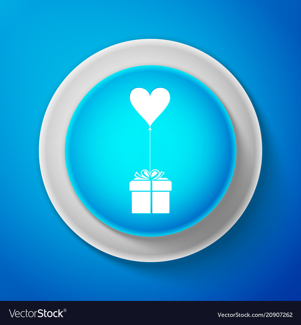 Gift with balloon in shape of heart icon