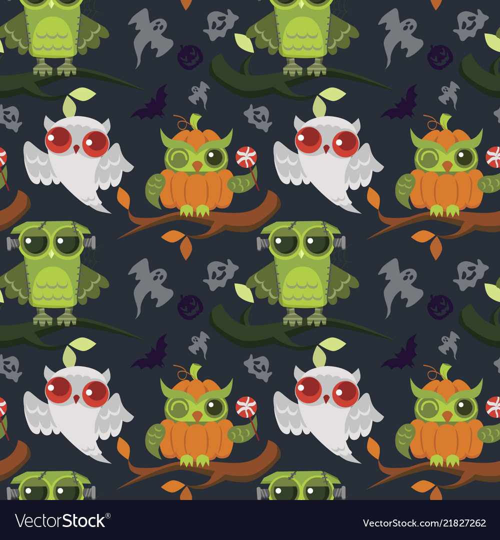 Halloween mystery owls seamless pattern