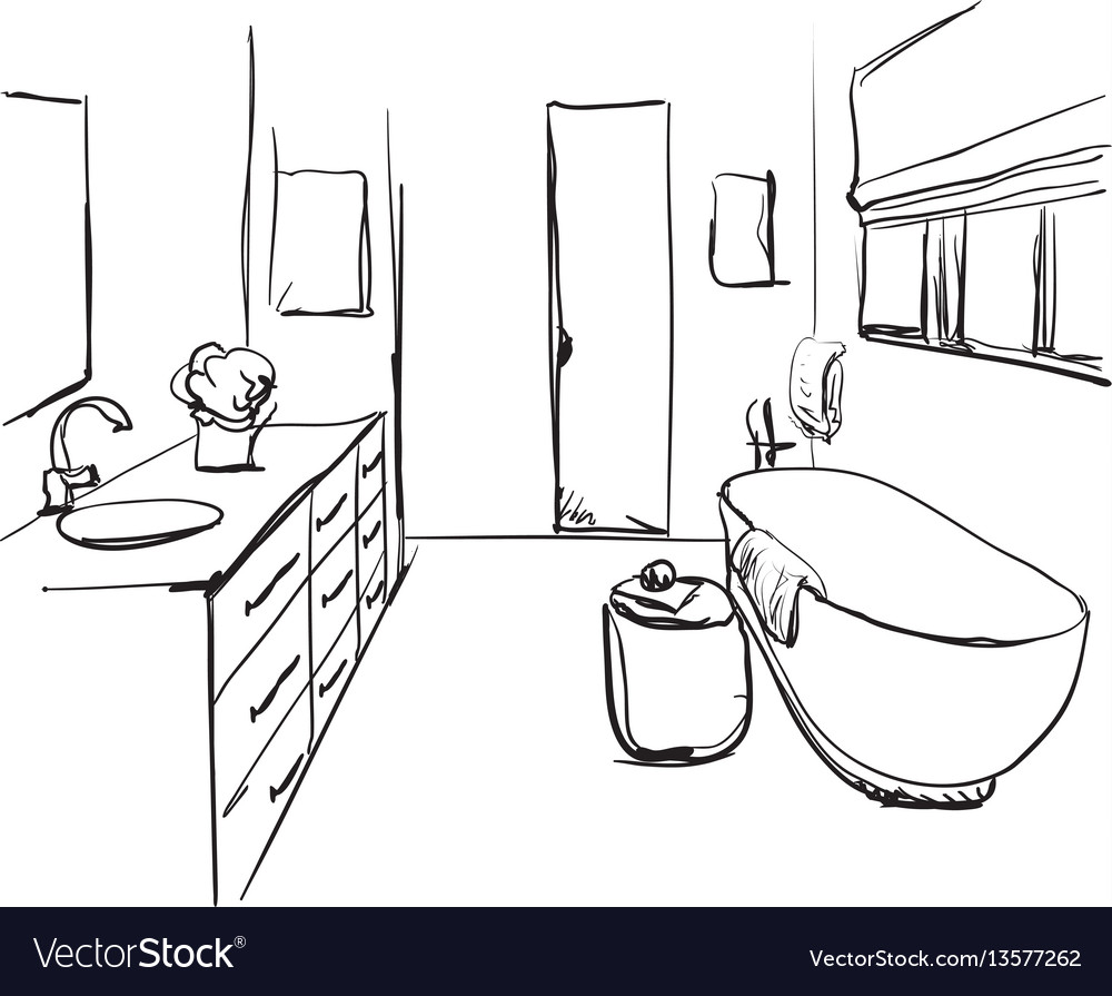 Hand drawn bathroom sketch
