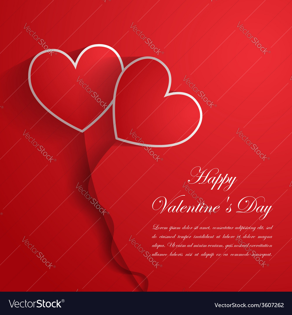 Happy Valentine Day Background with red hearts