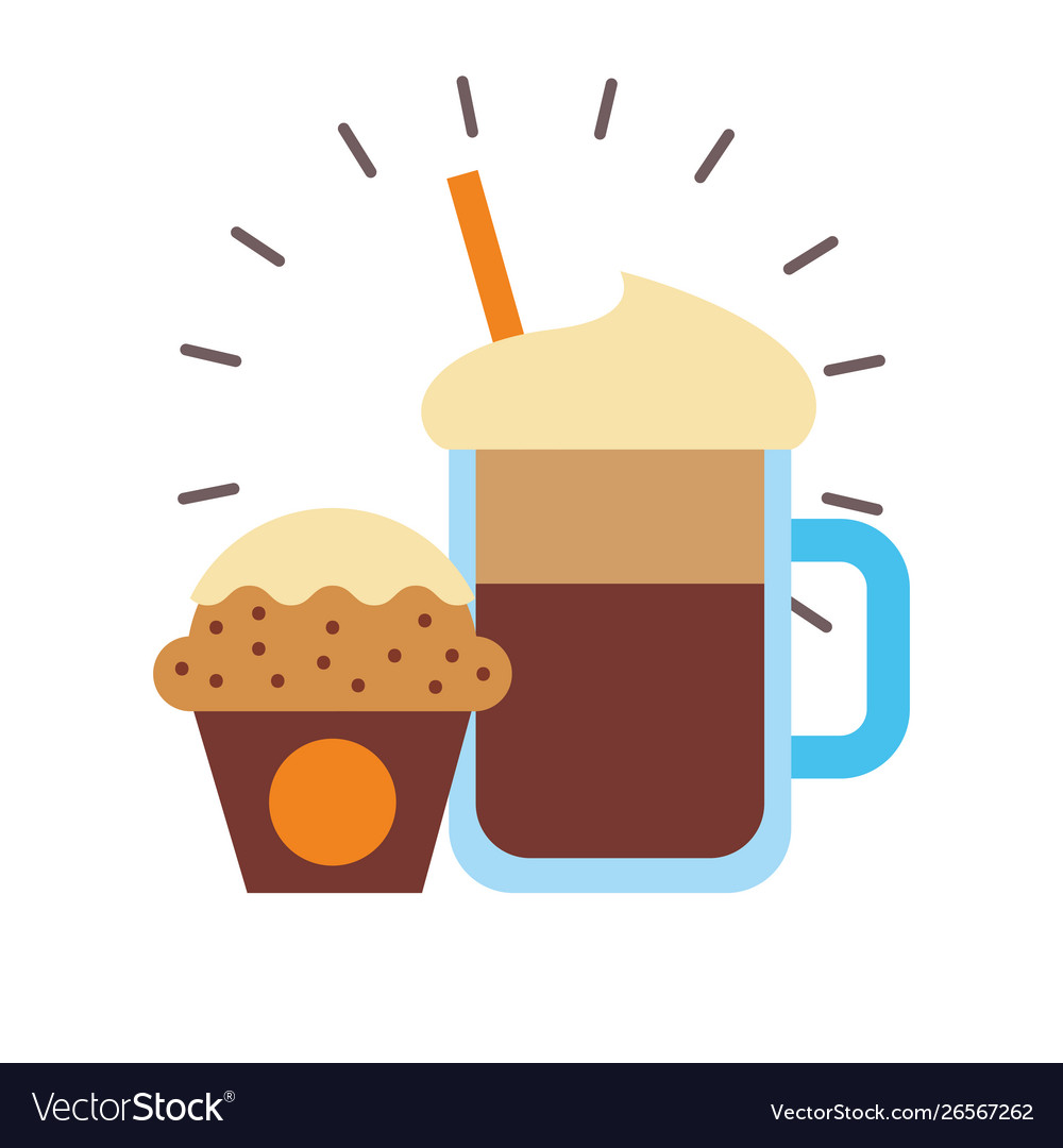 Iced Coffee And Muffin Design Royalty Free Vector Image
