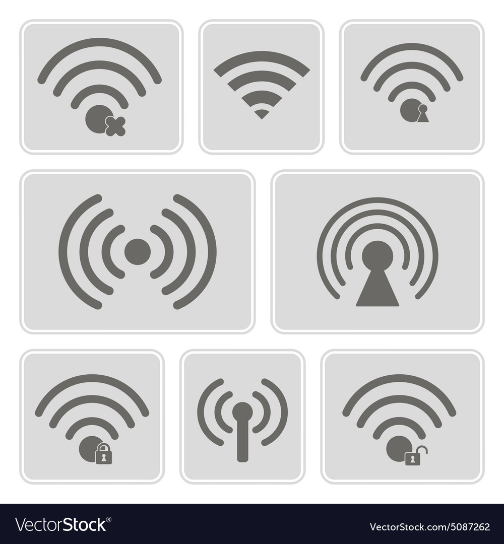 Monochrome icons with wifi symbols vector image