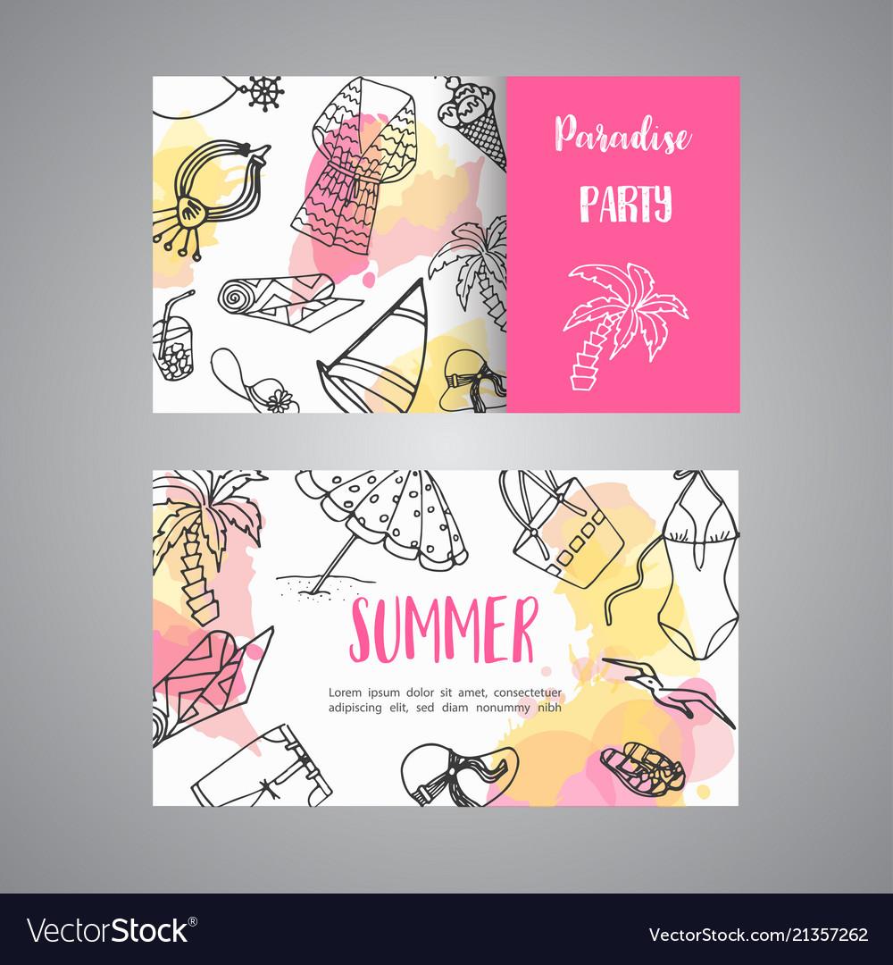 Summer hand drawn business card beach doodle