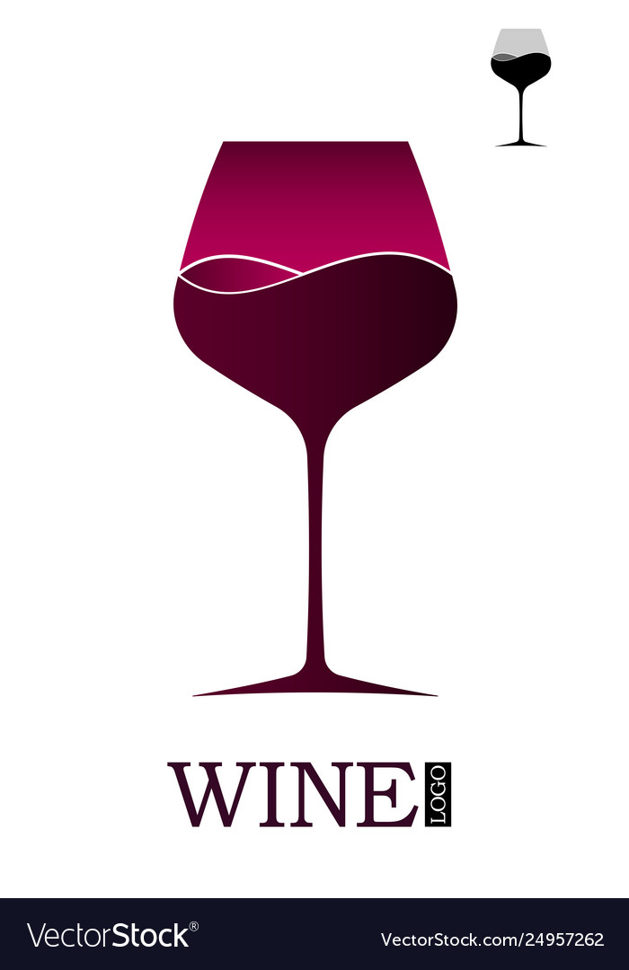 Wine shop or wine menu logo or emblem with a wine