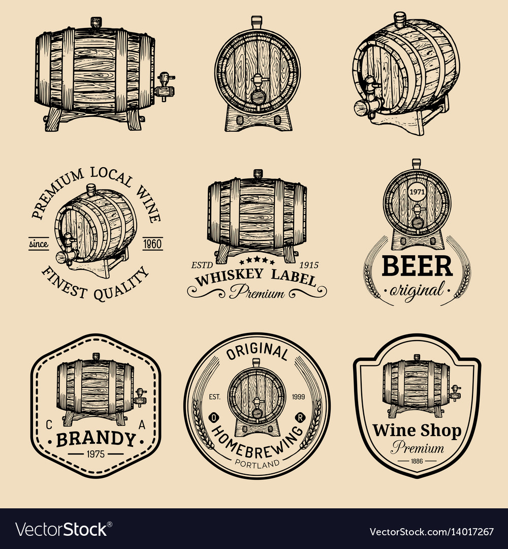 Alcohol logos wooden barrels set with drinks vector image