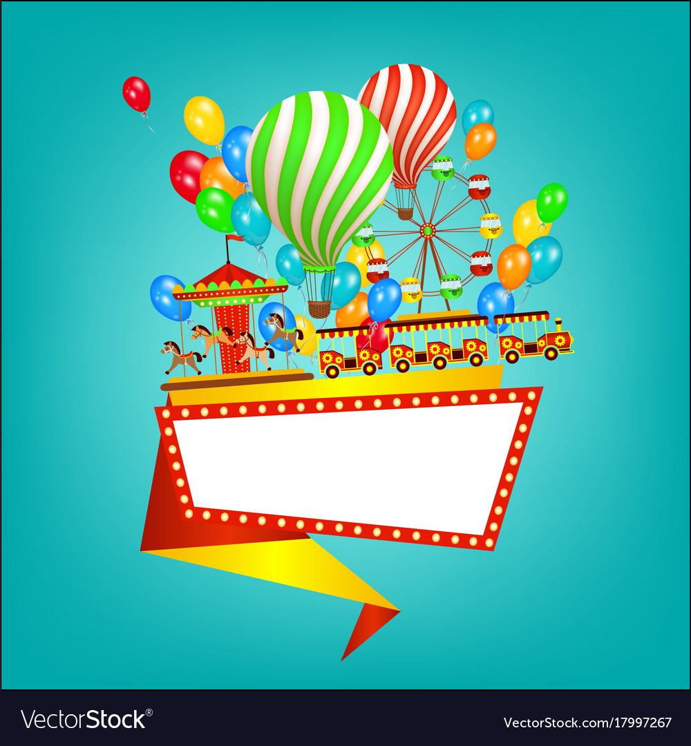 Amusement park banner poster template flat style