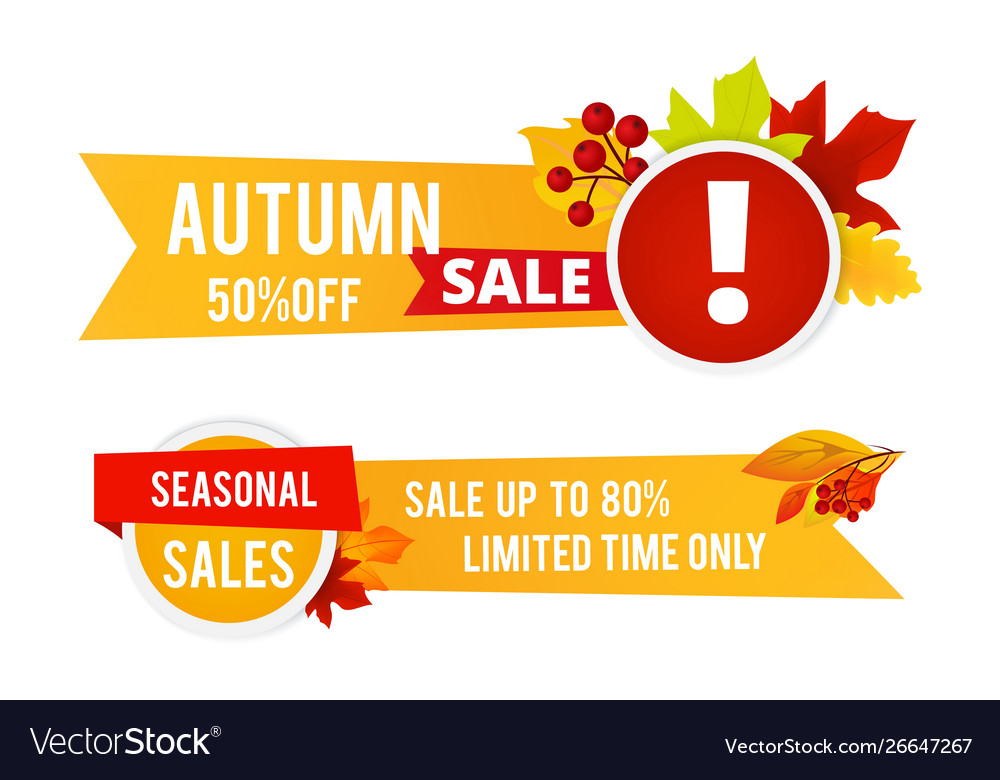 Autumn sale flyers seasonal sale banners