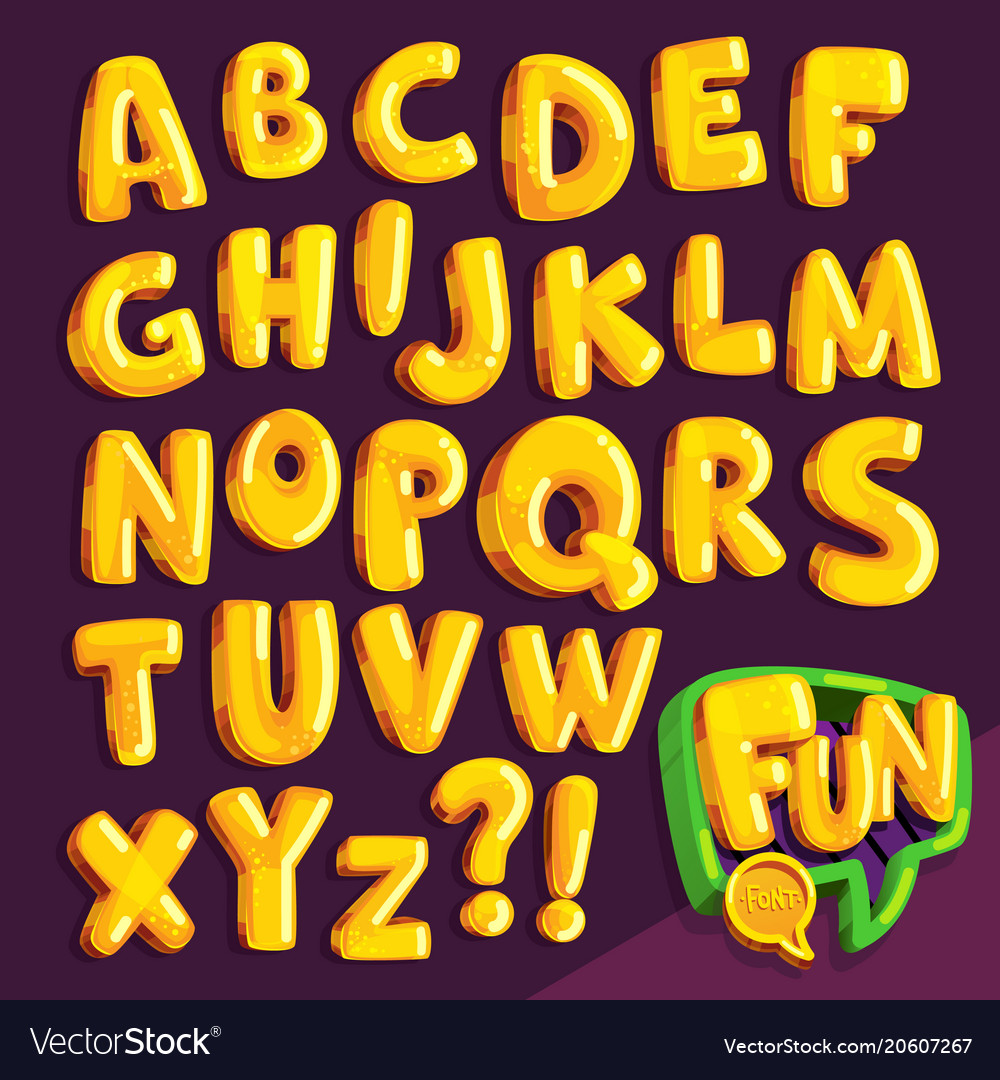 Cartoon yellow font