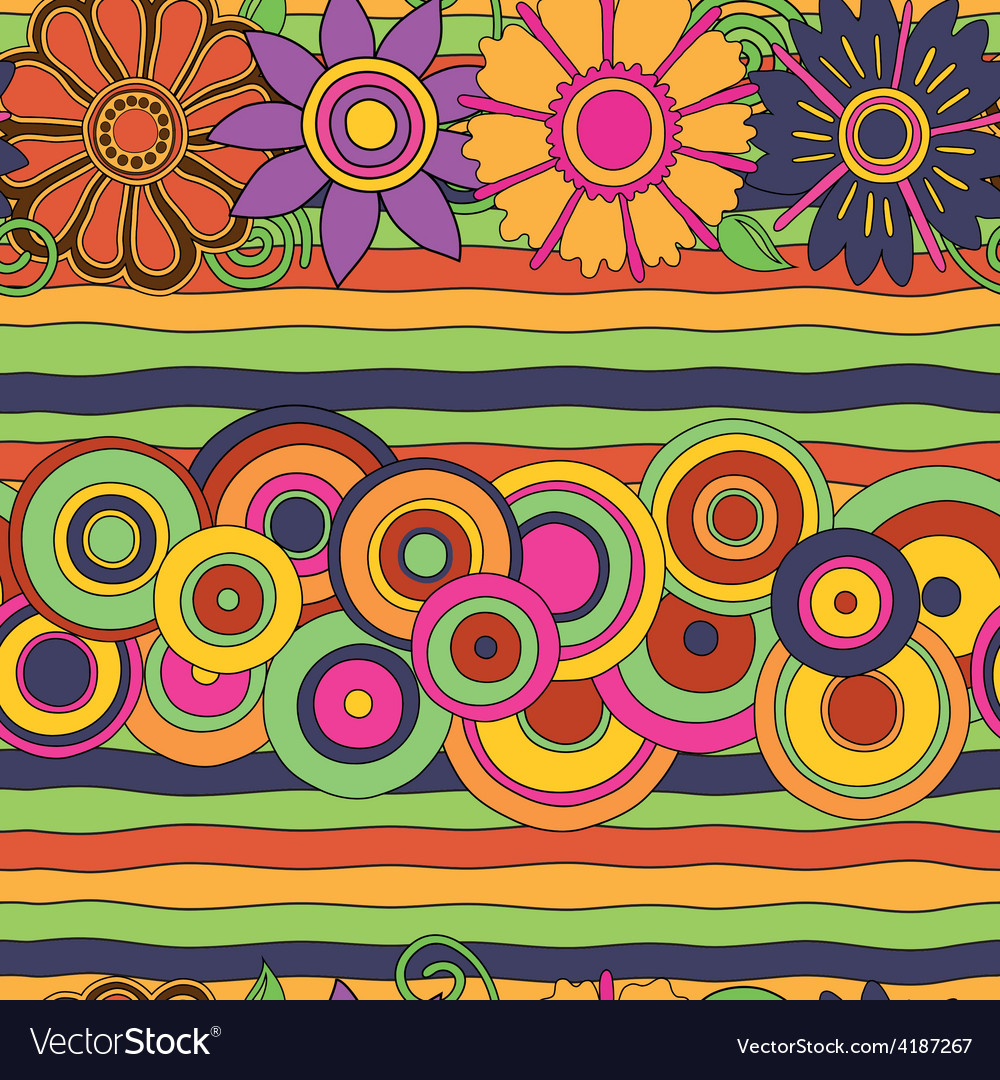 Circles flowers pattern