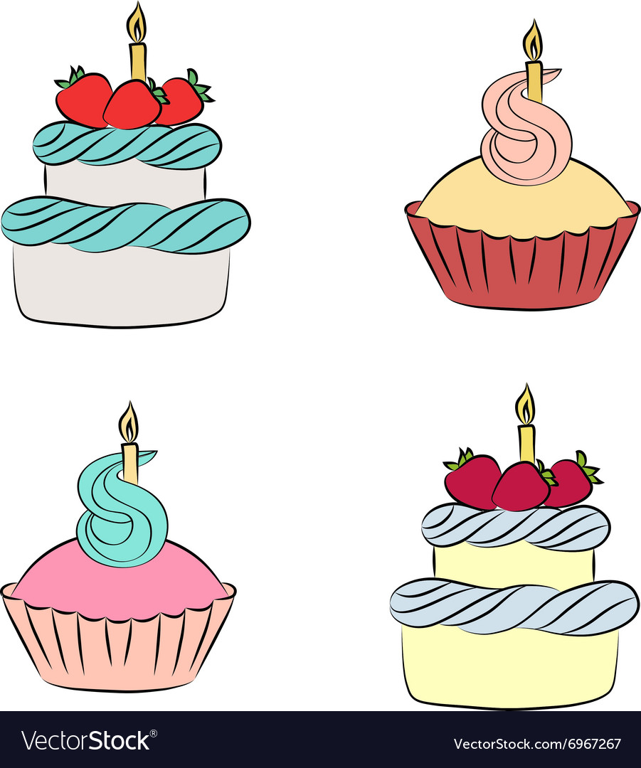 Colorful cream cupcake and cake with berry