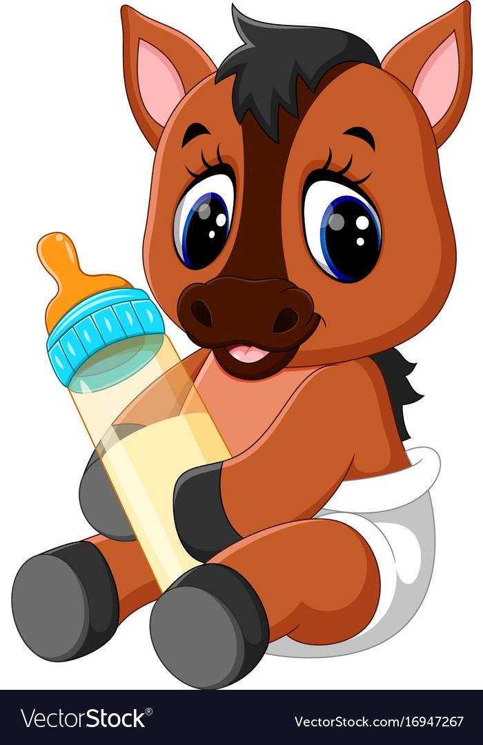 Cute Baby Horse Cartoon Royalty Free Vector Image