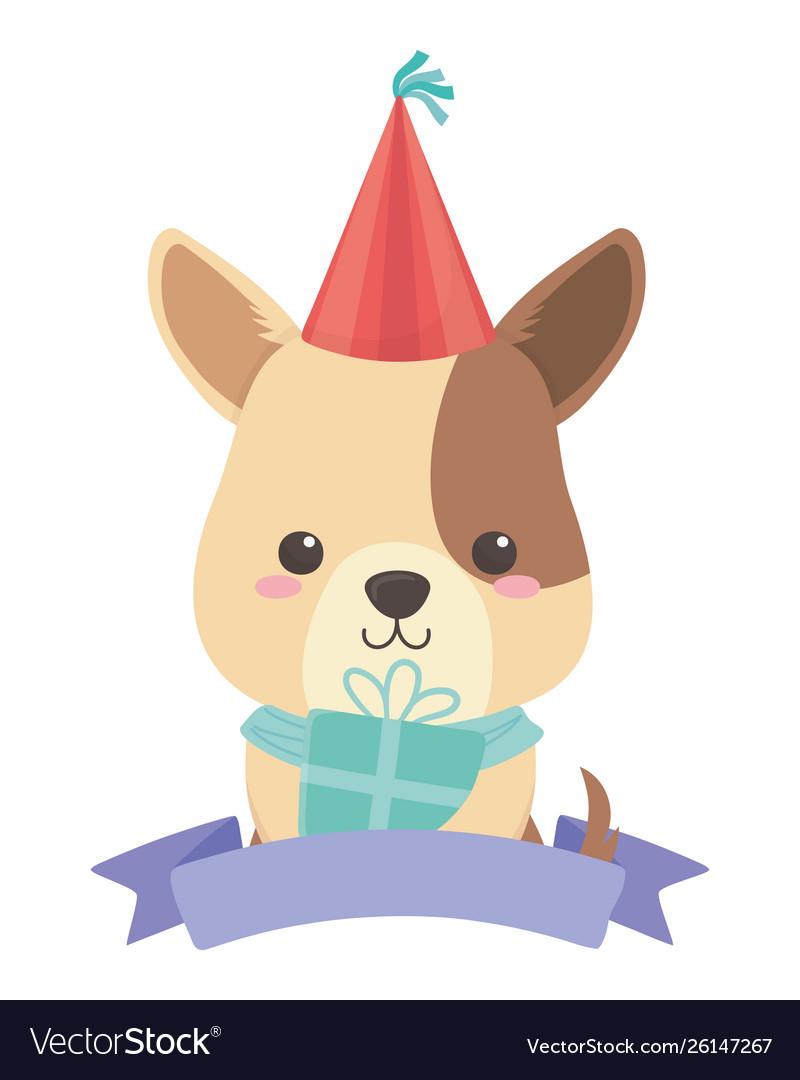 Dog Cartoon With Happy Birthday Icon Design Vector Image