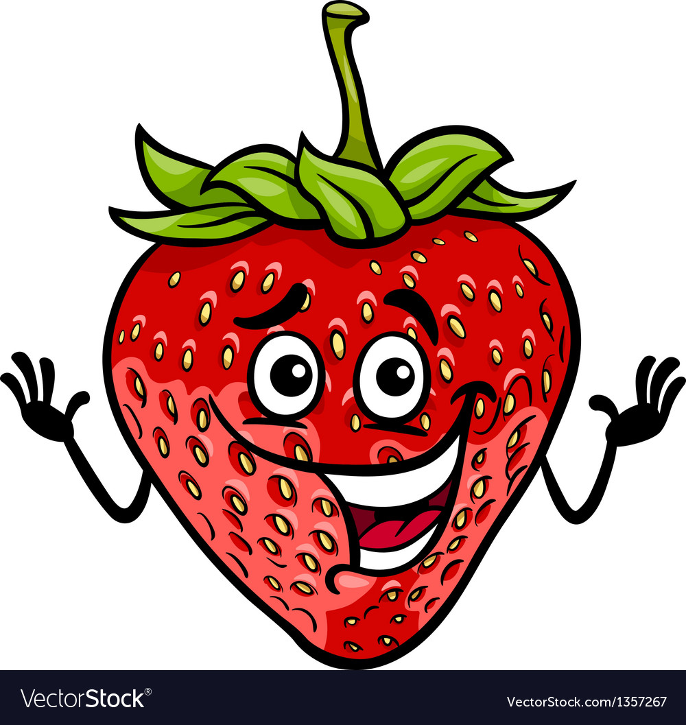 Funny strawberry fruit cartoon