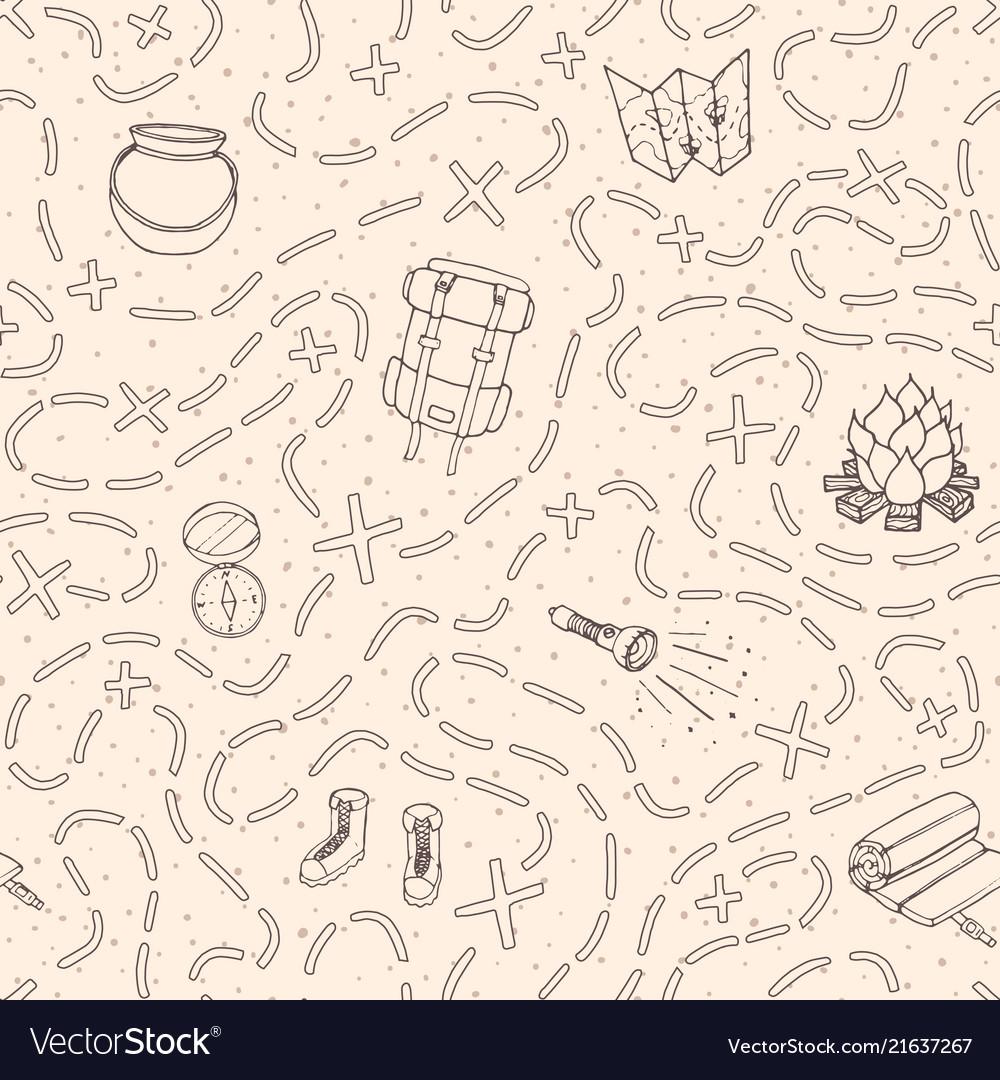 Hand drawn camping seamless pattern travel