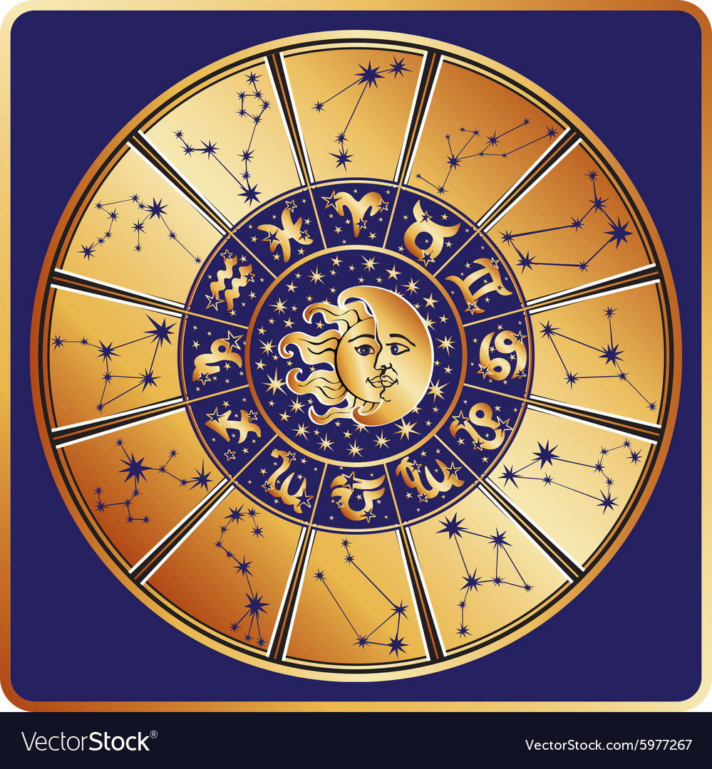 Horoscope circleZodiac sign with constellations vector image
