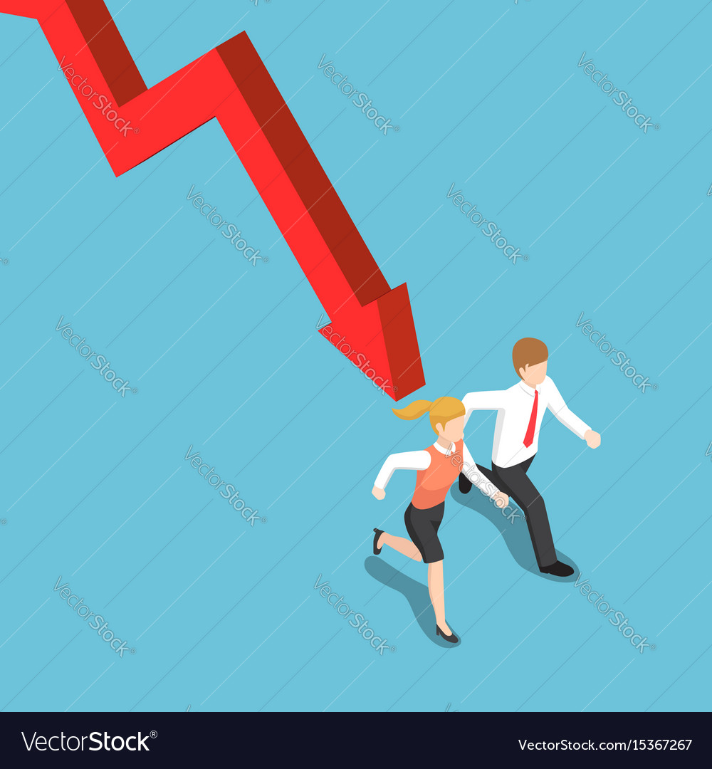 Isometric businessman runaway from falling graph vector image