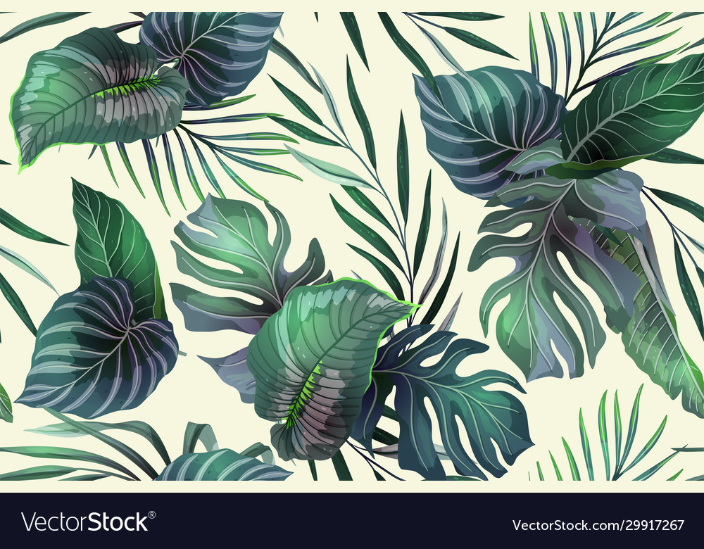 Seamless pattern with exotic leaves