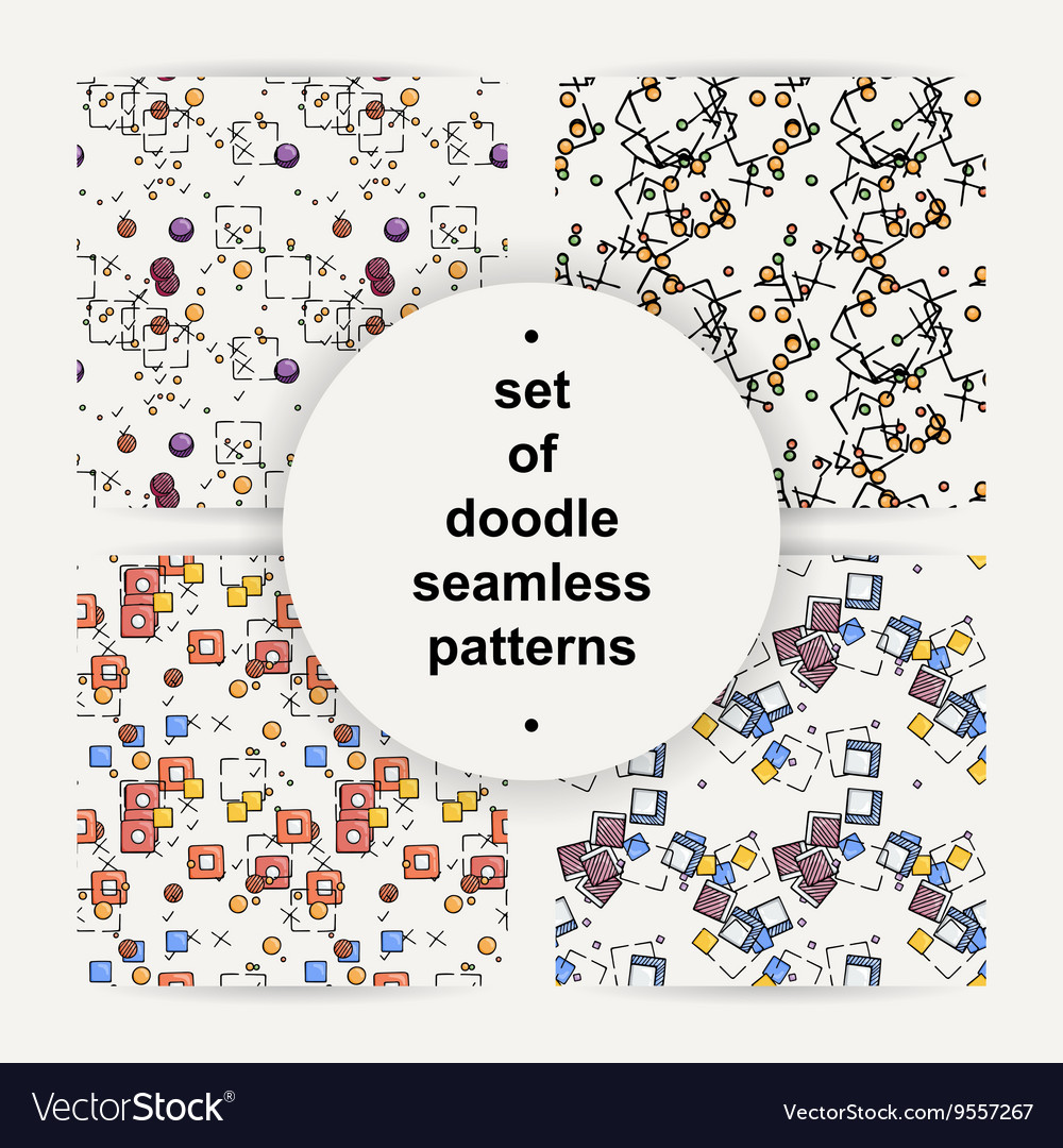 Set of hand drawn doodle seamless patterns