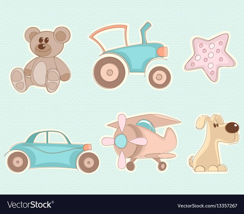 Six toys set vector image