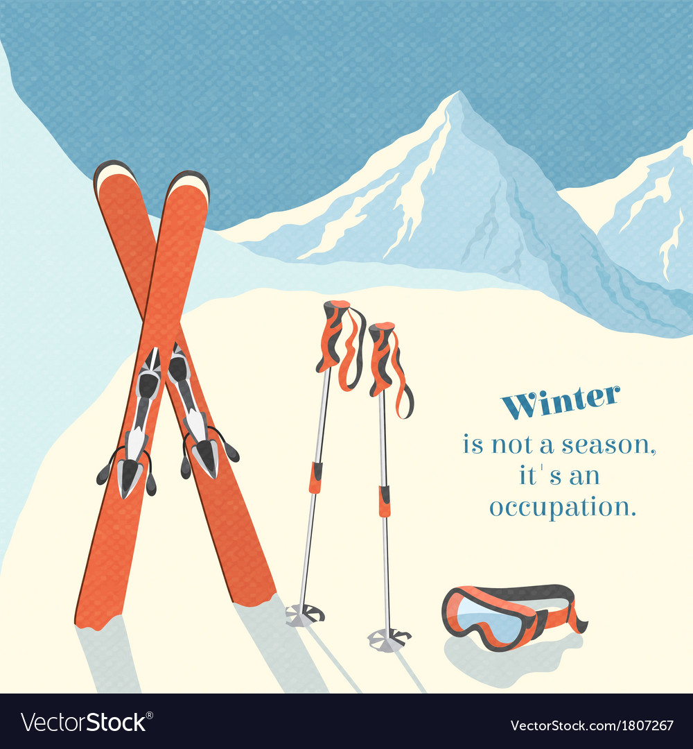 Ski winter mountain landscape background vector image