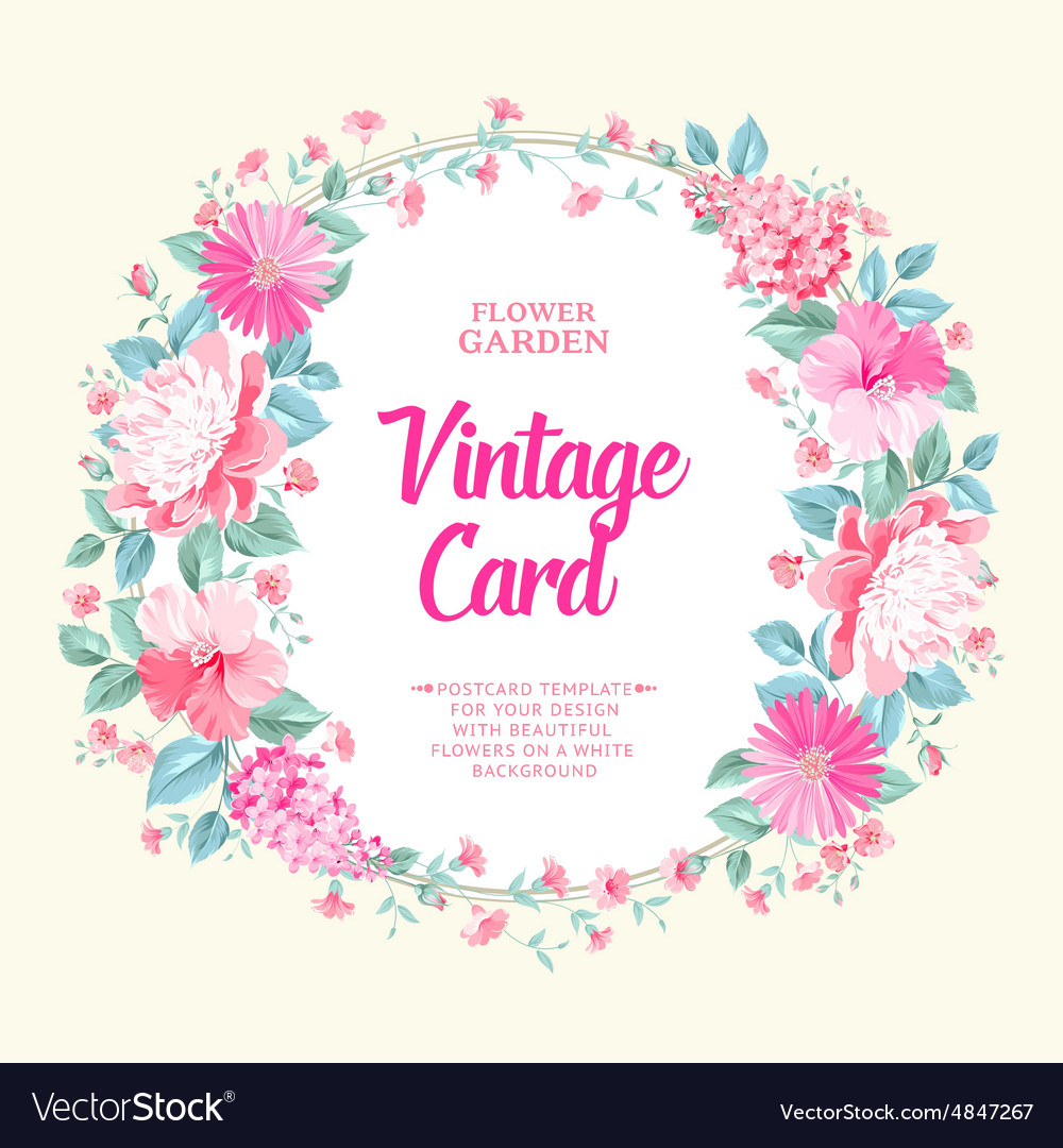 Vintage Frame Bouquet Of Spring Flowers Royalty Free Vector