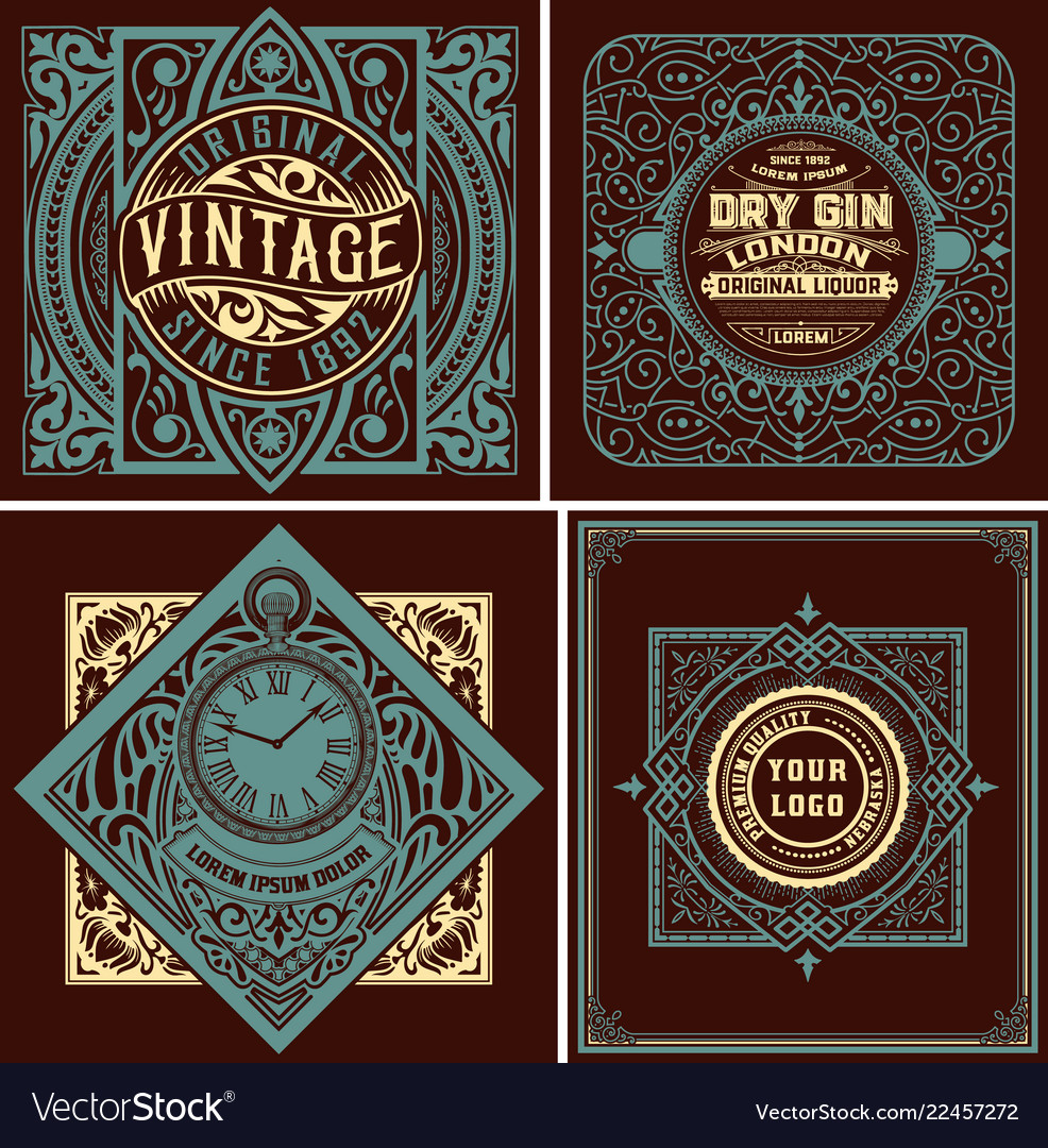 4 old labels with floral ornaments