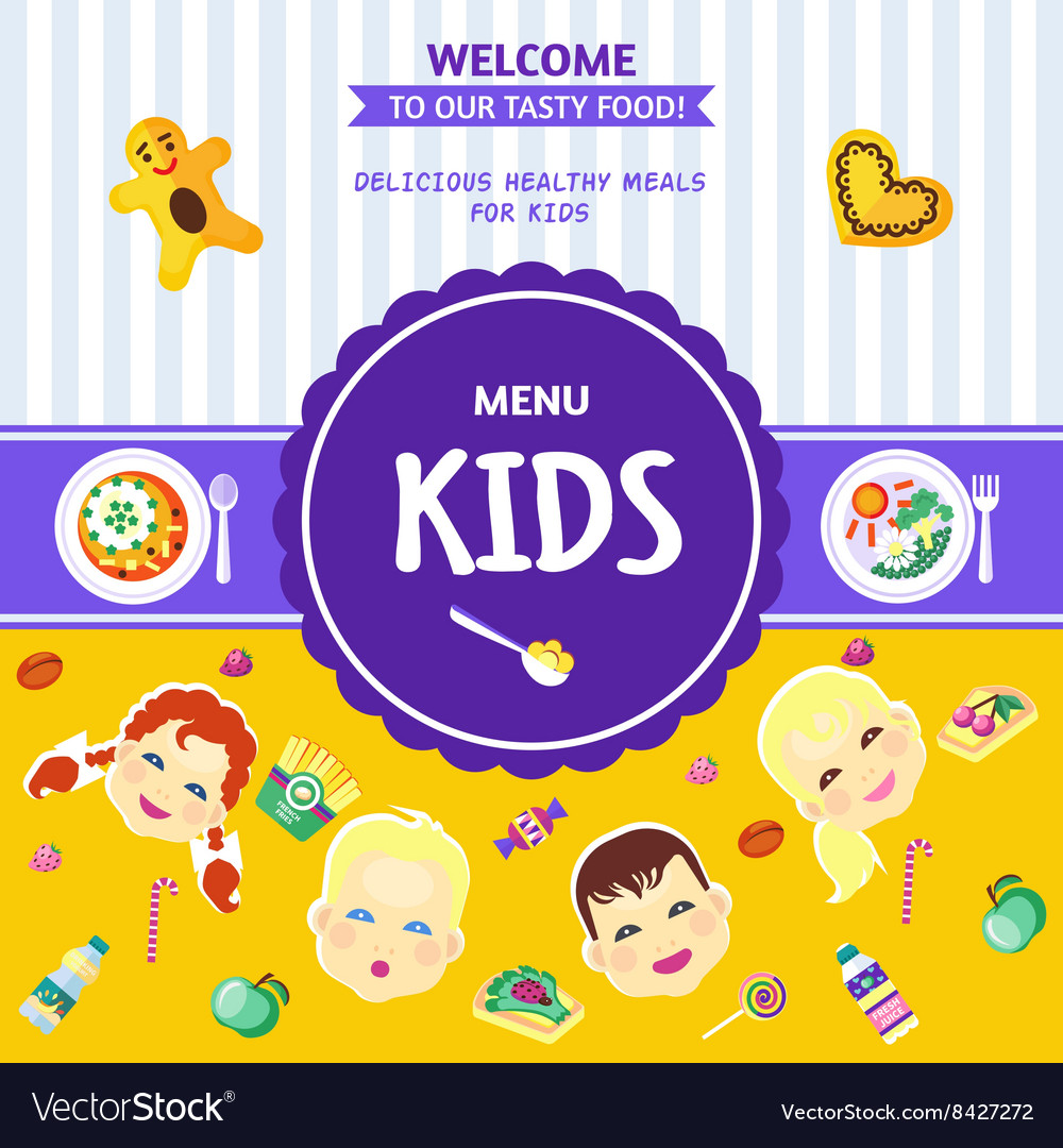 Baby Food Menu Flat Poster vector image