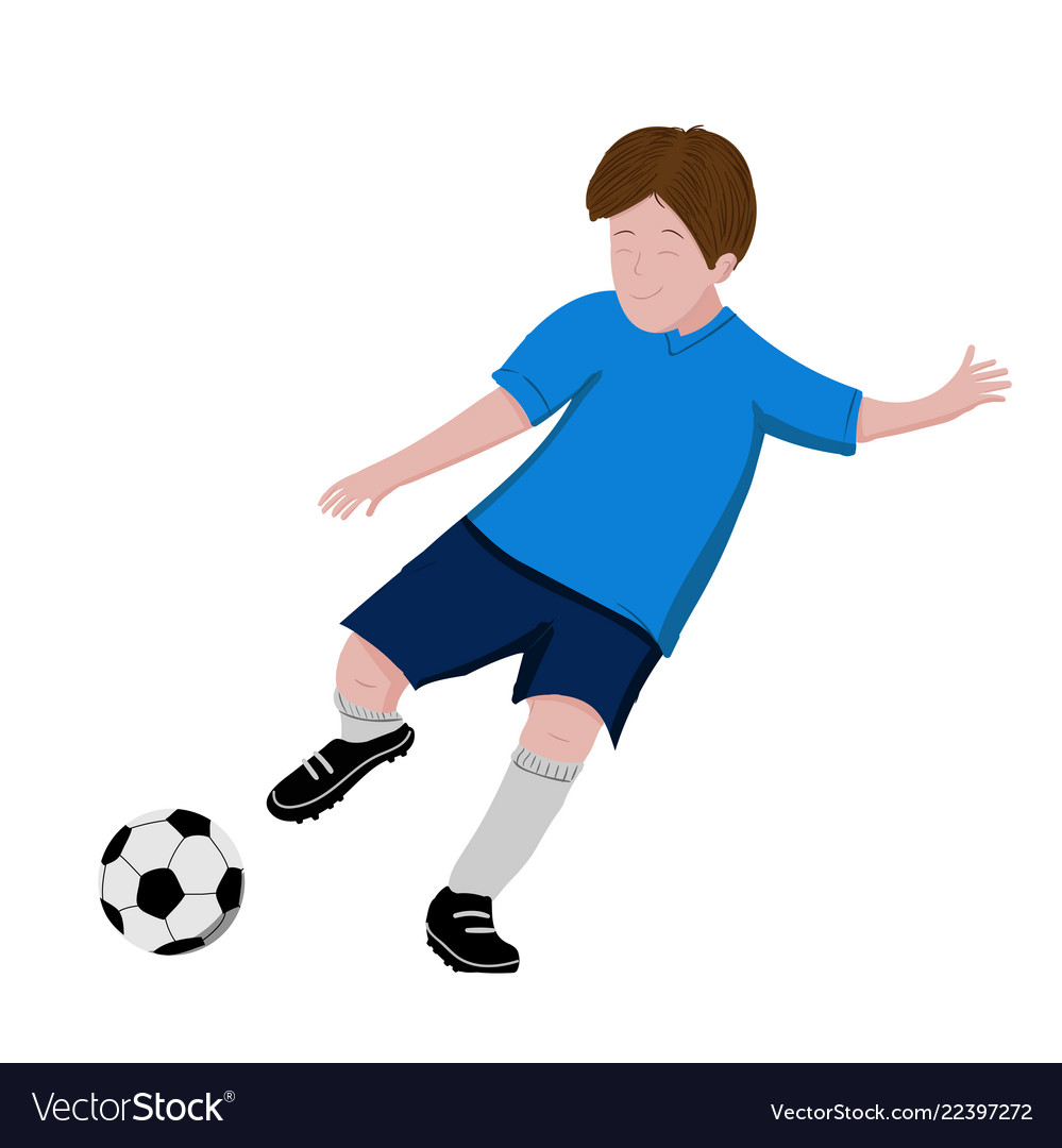 Boy playing soccer - isolated on white background