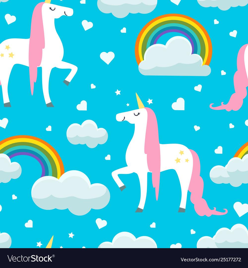 Cute unicorns clouds and rainbows seamless