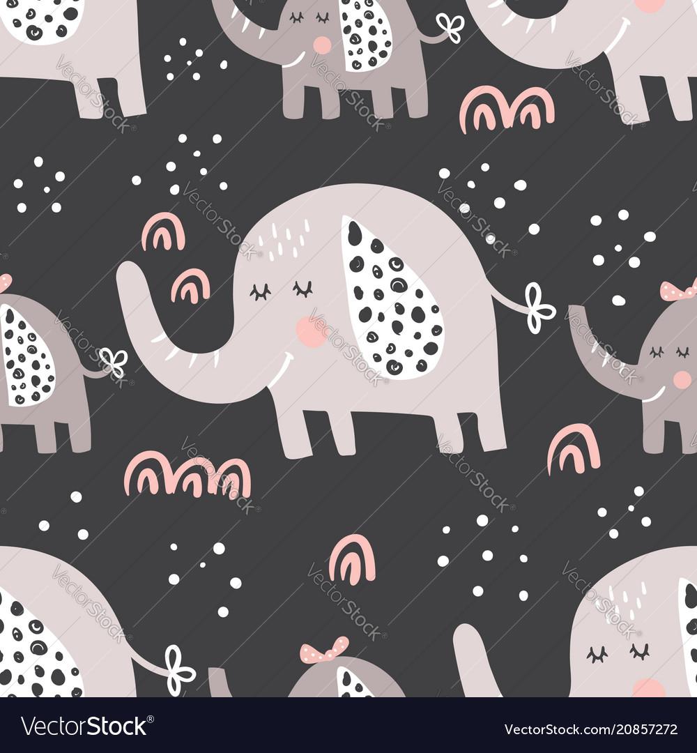 Dark elephants family pattern