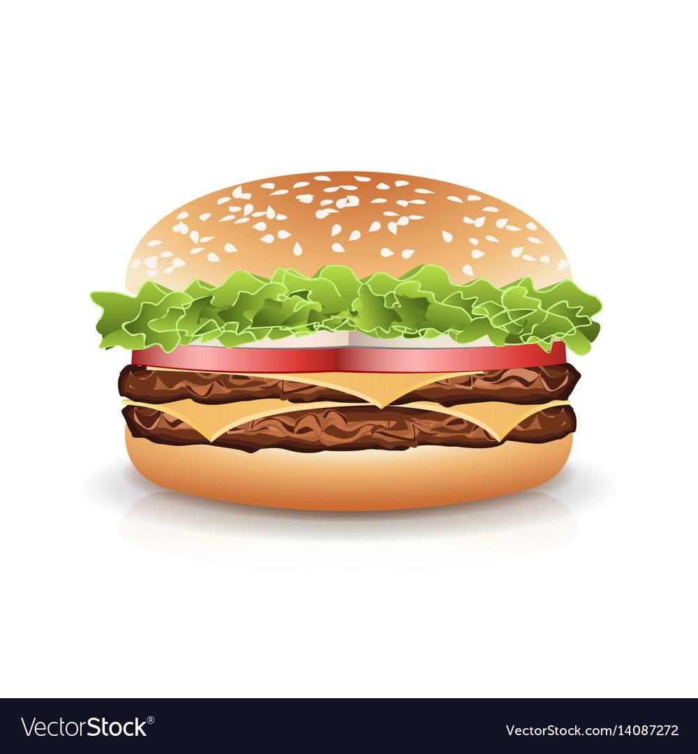 Fast food realistic burger hamburger icon vector image