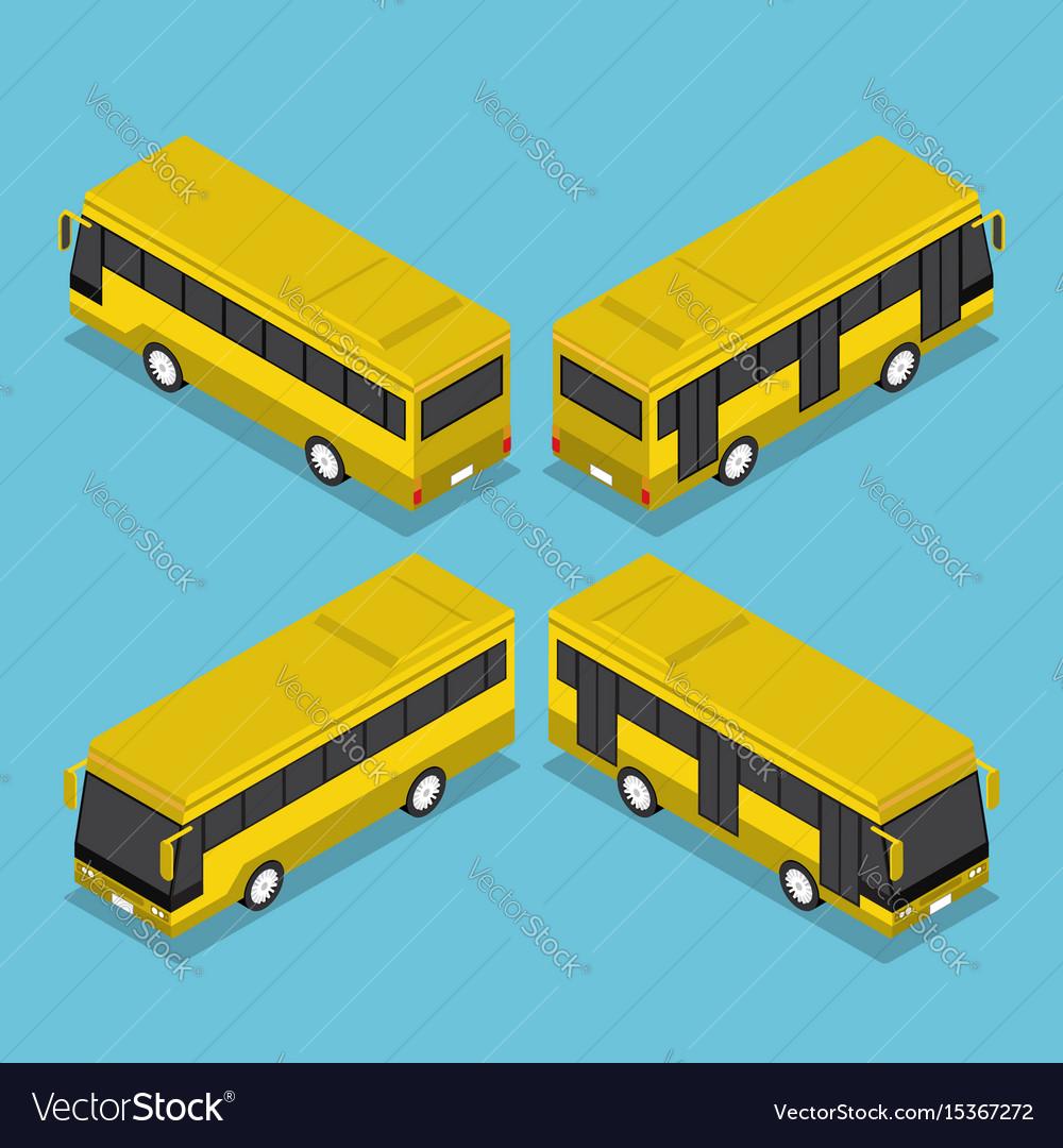 Flat 3d isometric public transport bus service