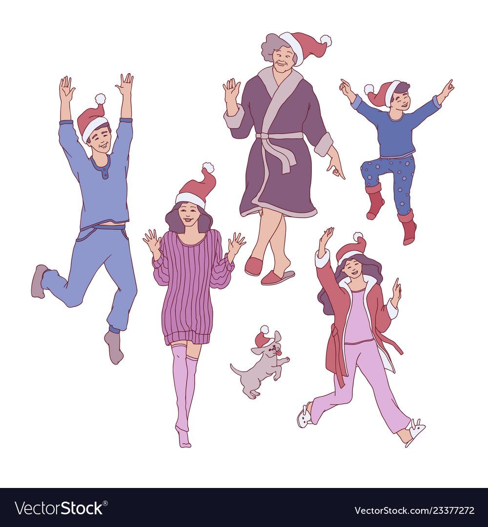 Flat sketch family characters santa hat