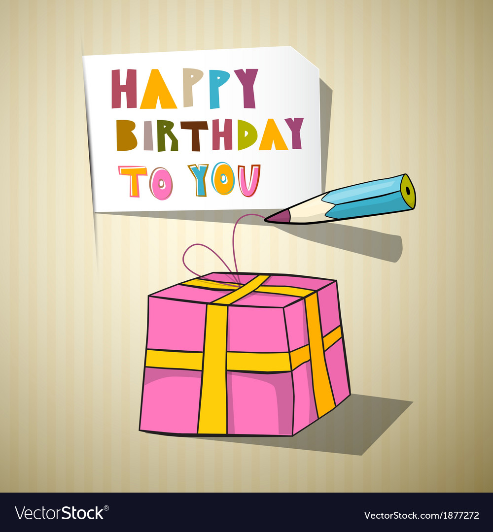 Happy Birthday Title Gift Box Pencil vector image