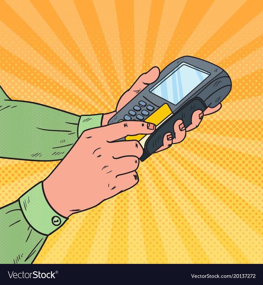 Pop art male hands swiping credit card terminal