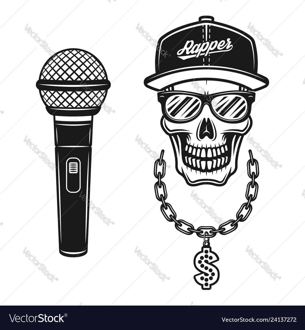 Rapper skull in snapback with chain and microphone