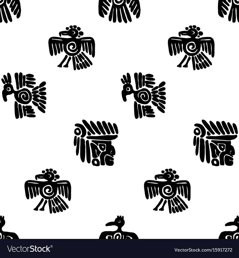 Seamless maya pattern black and white ethnic
