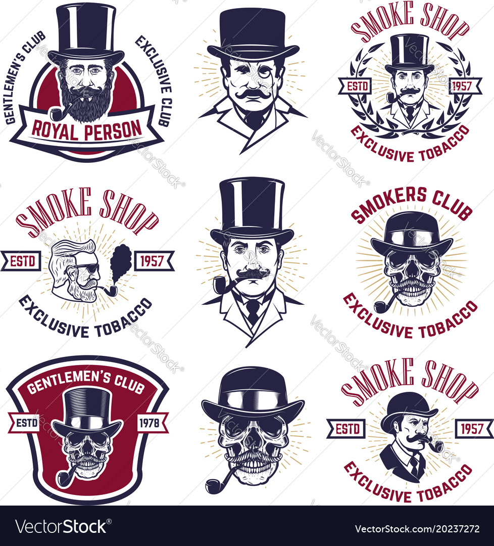 Set of smokers club emblems vintage gentlemans