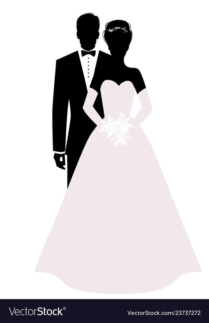 Silhouettes of newlyweds couple wearing wedding