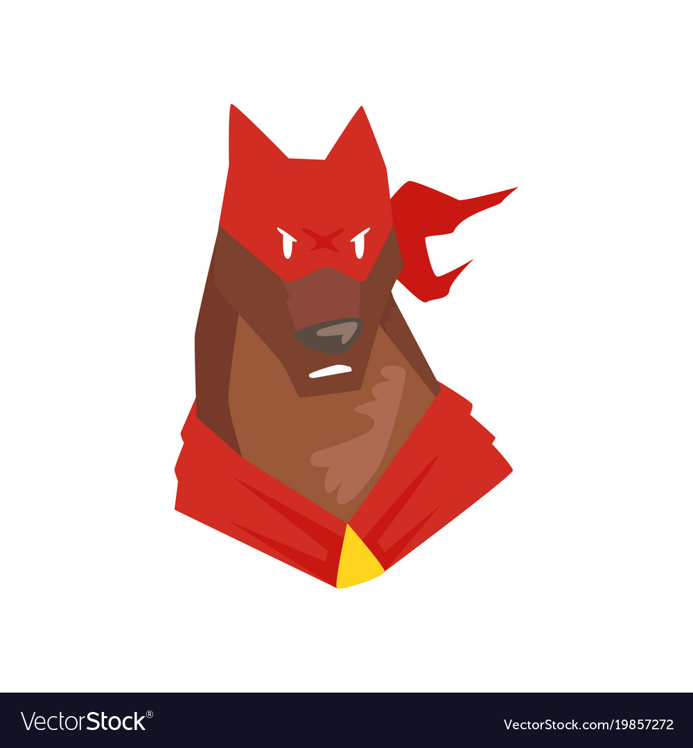 Superhero dog character in red mask cartoon