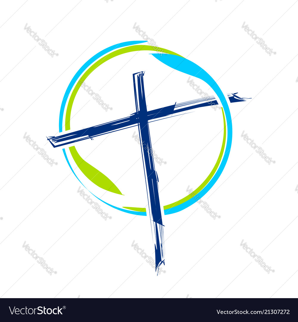World ministry brush abstract cross symbol design