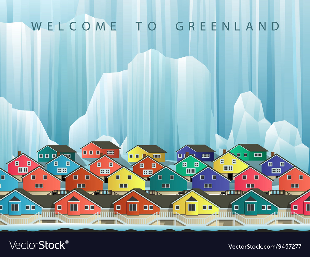 Arctic greenland town vector image