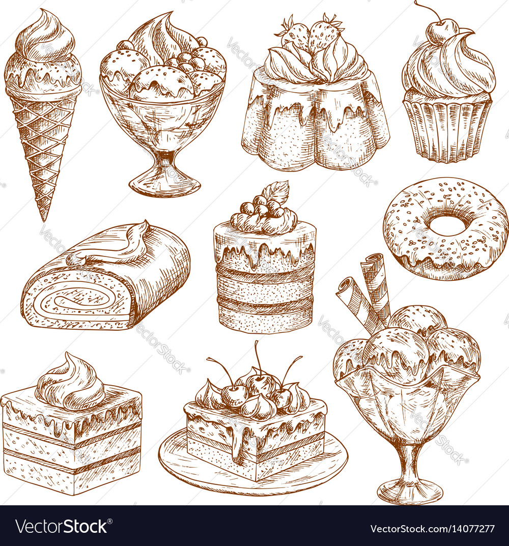 Bakery shop sketch icons of pastry desserts
